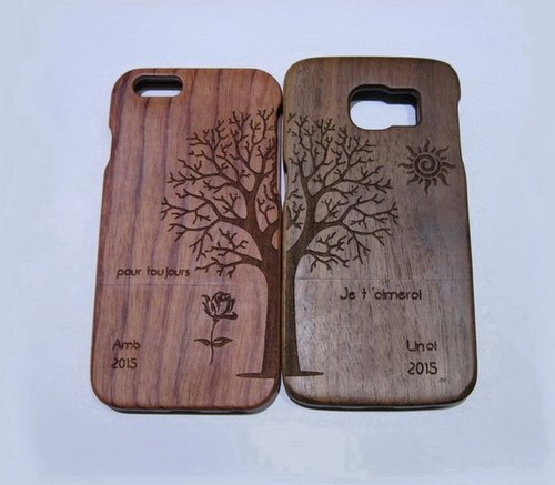 Handmade custom solid wood couple phone case, custom solid wood iPhone case, custom Samsung Samsung wood phone case, personalized gifts, couple phone case, 2 sold together, the couple tree