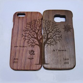 Custom solid wood couple mobile phone shell, custom solid wood iPhone mobile phone shell, personalized gifts, couple mobile phone shell