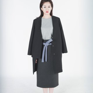 Egeria Collarless Layered Stripe Coat (Deluxe Series)