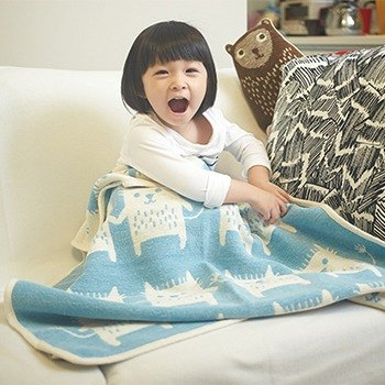 Warm blanket / baby blanket / month indemnity ceremony ► Sweden Klippan organic cotton warm blanket - funny cat (sky blue)
