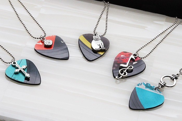 Vinyl Guitar Pickup Pick Pendant Handmade Necklace Customizable