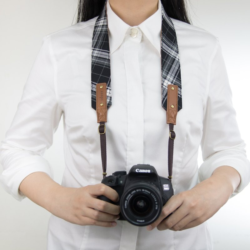 Scottie Stewart Black Tartan Camera Strap