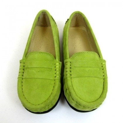 Fort Tony Wang matte leather handmade shoes kids [/ soled / pea green]