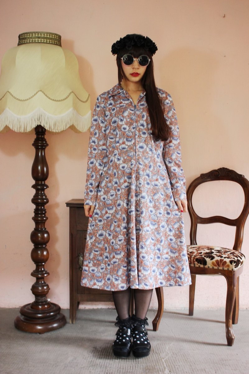 F1134 (Vintage) bottom blue flowers gray long-sleeved vintage zip-front dress