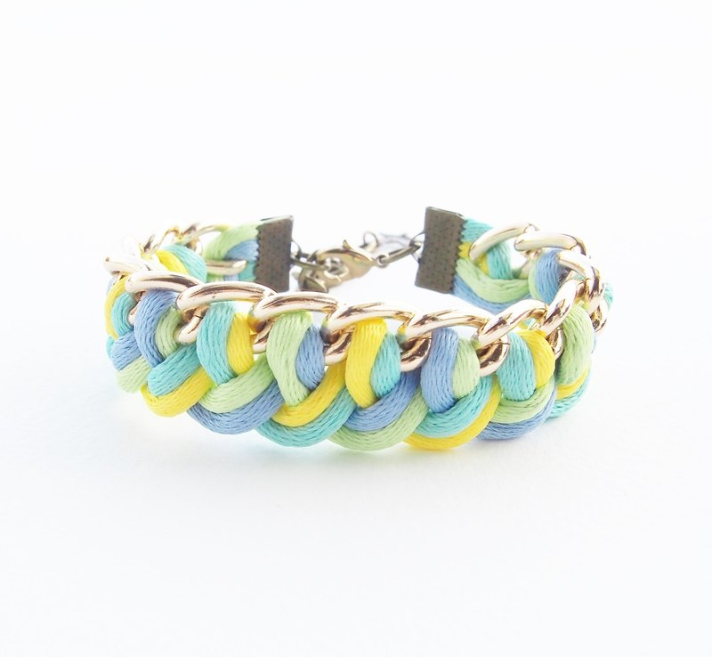 Blue/mint/yellow/lime side the chain