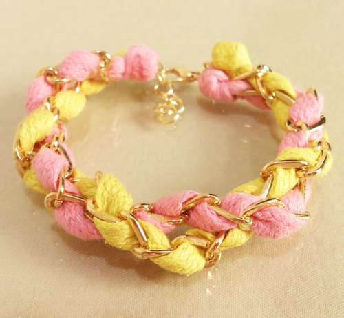 ~ Fairy tale - a double circle color wax rope bracelet - strawberry cheesecake ~ pink + yellow