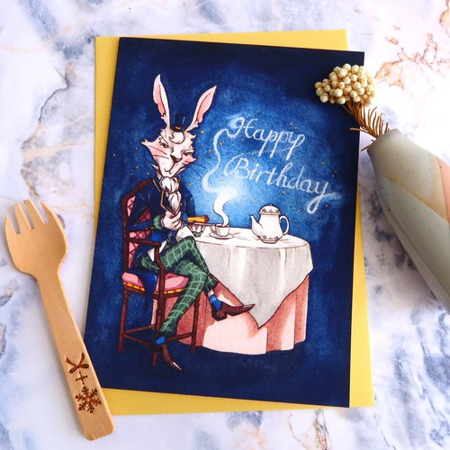 【Pin】Gentleman Rabbit│Print│Birthday card with envelope at your choice