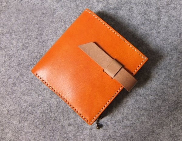 Handmade leather leather straight jumper short clip + zip coin pocket color with bright orange wood +