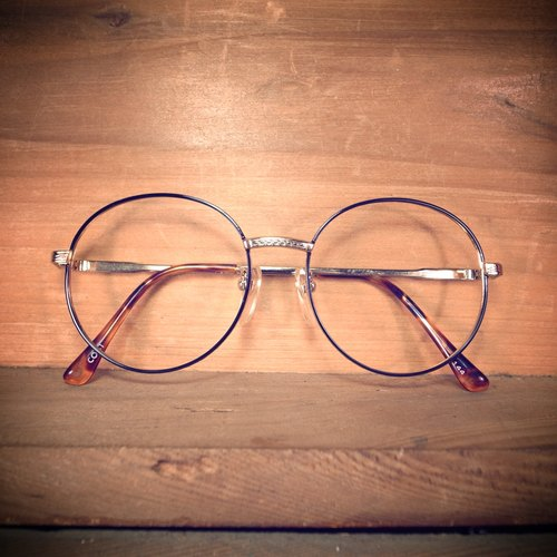 [Bones] Early Black x Gold vintage metal frame round frame antique vintage vintage M