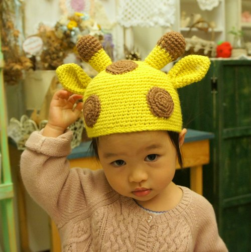 I called the best hand-knit little protagonist giraffe hat ~