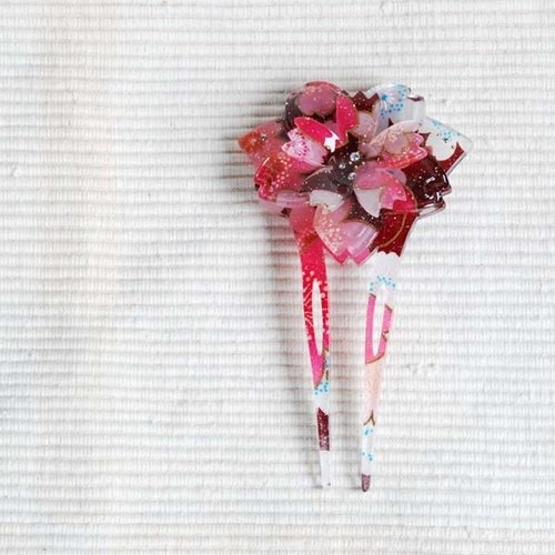 Sakura soft, double cherry, fan-shaped hairpin, hairpin - red