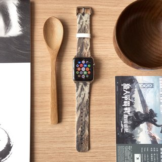 Apple Watch Series 1 ,Series 2 and Series 3 - Faux Brown Wood Printed on Genuine Leather for Apple Watch Strap Band 38 / 42 mm - 31