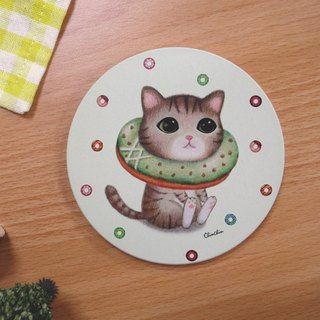 ChinChin hand-painted ceramic cat water coaster - Matcha donuts
