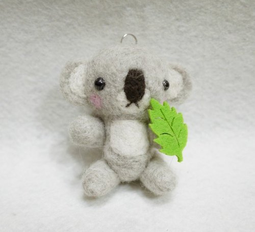 Aiyoujiali leaves koala ((joint movable version)) ~ Necklace / Charm / keychain pure New Zealand wool produced