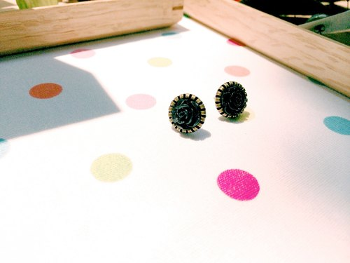 """Earrings"" retro small rose - black"