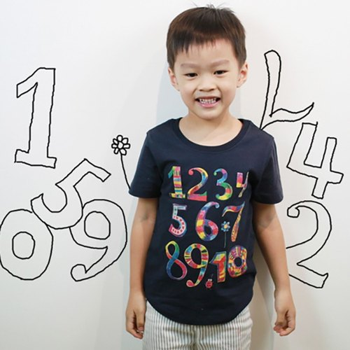 Children's handmade silk cotton T-shirt printing - Childlike digital graffiti (iron blue and gray)