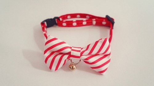 [Miya ko.] Handmade cloth grocery cats and dogs tie / tweeted / Bow / stripe / pet collars