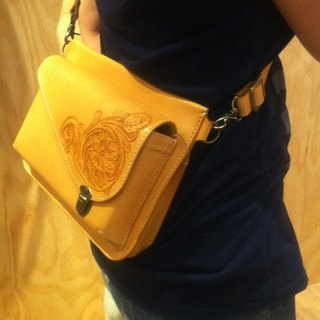 Full Sew carved hip bag - tanned leather colors