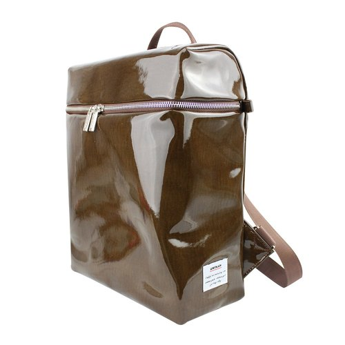 AMINAH- of coffee shiny mirror backpack [am-0279]