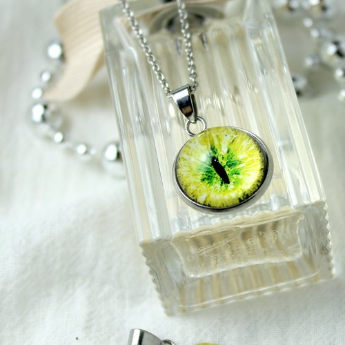 [Cat EYE] 16mm cat eye stainless steel necklace