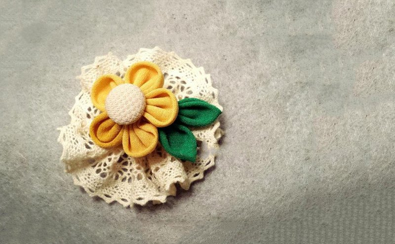 Handmade yellow fabric flower with lace accessory (clip/ band/ corsage)