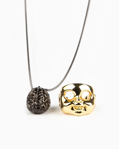 Recovery x Brainfart55 / Brain Necklace + Baby Ring (Large)