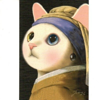 JETOY, Choo Choo Sweet Cat Second Generation Postcard _Pearl earring