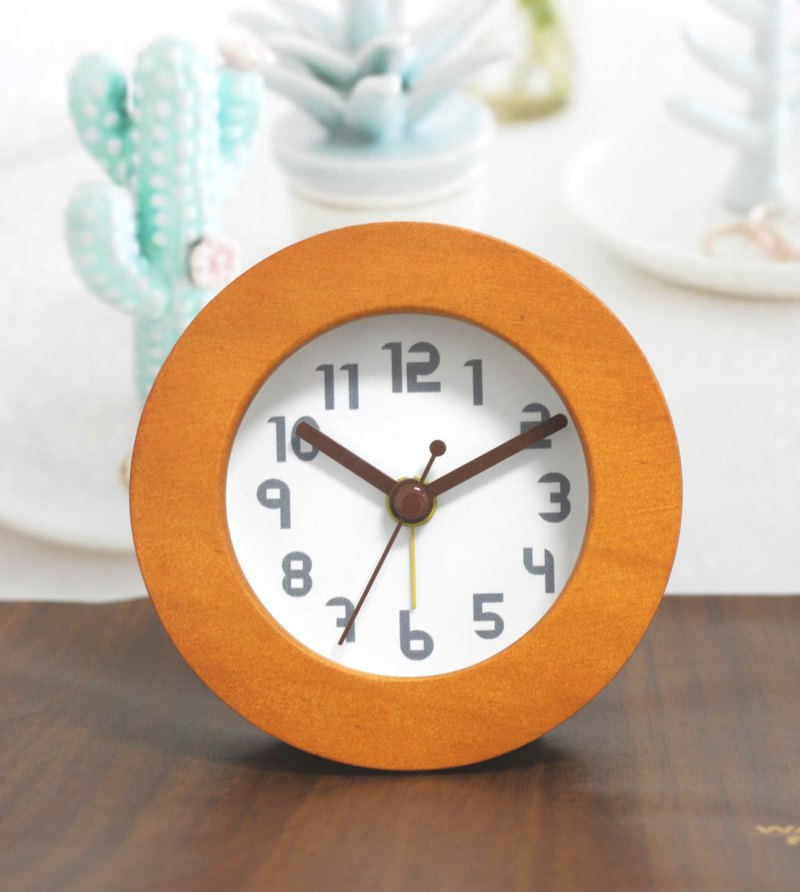 Happy hour round wooden alarm clock
