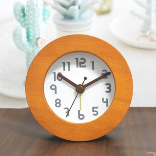 Happy hour round wood alarm clock