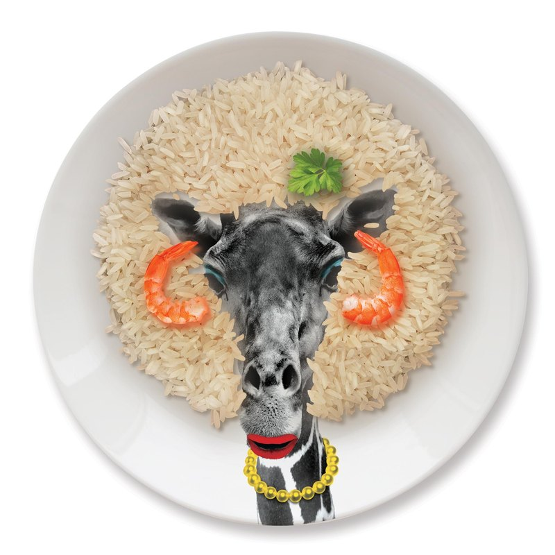 Mustard Animal Dinner Plate - Giraffe