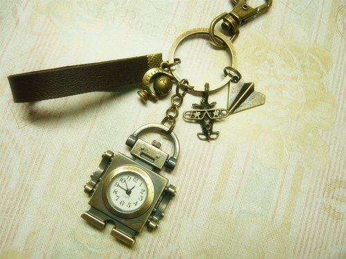 Nadia ♥ love hand-made limited edition watch clock keychain childhood fun Robots * aircraft * * * Paper airplane Globe