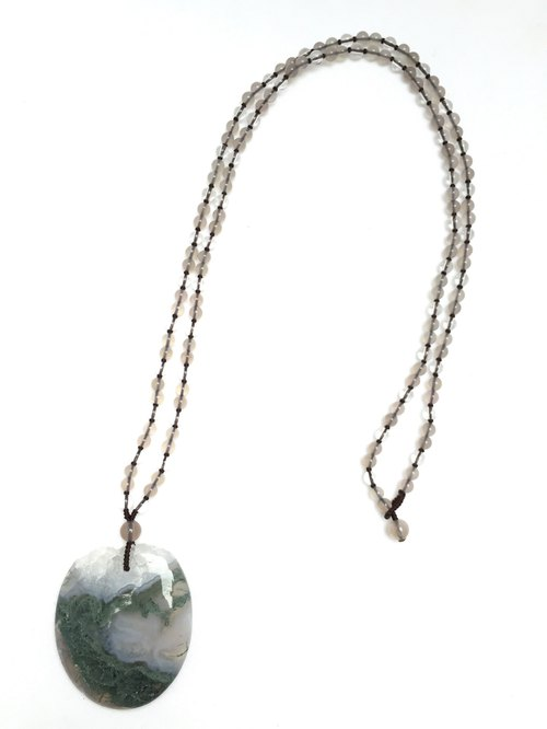 N0248 - natural stones - plants agate / gray agate / white crystal necklace