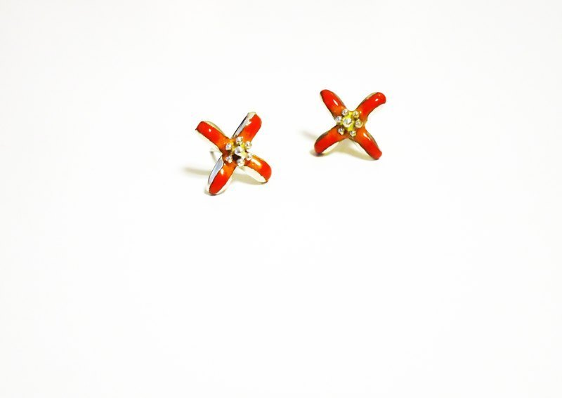 Flora silver enamel flower earrings (orange)
