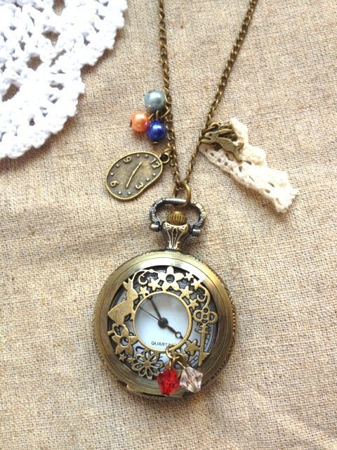 Alice in Wonderland / Bunny Watch Table Necklace Gift
