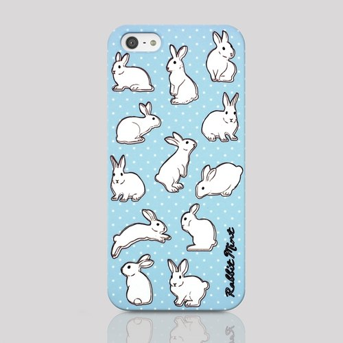 (Rabbit Mint) Mint Rabbit Phone Case - Baby Blue Polka Dot Rabbit - iPhone 5 / 5S (P00029)