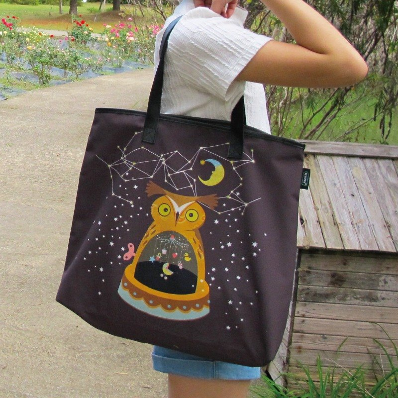Sky moonlight owl music box bag (recycled PET bottle environmental protection fiber fabric)