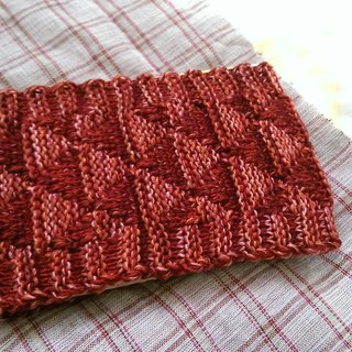 Lan hand-made knit headband triangle weave (yarn red flower)