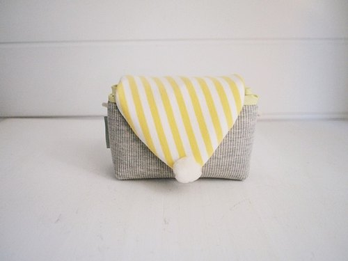 hairmo. Macaron minimalist camera bag hand money - gray + yellow stripe (monocular / category monocular / DC)