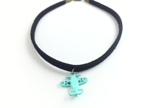 """Green light blue small aircraft necklace"""