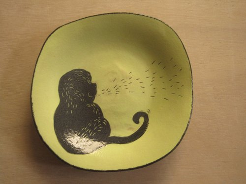 DoDo hand-made private message animal silhouettes series - monkey square plate (green)