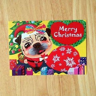 Postcard-Merry Christmas Pug-01