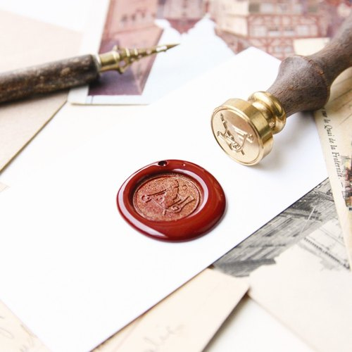 Sealing Wax Stamp Set w/a wax- Quill Pen and Letter