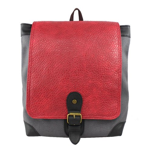 AMINAH- Red Gray Classic Backpack [am-0280]