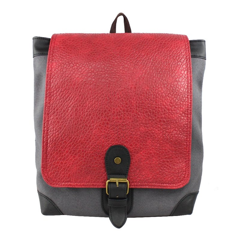 AMINAH-Red Grey Classic Backpack [am-0280]
