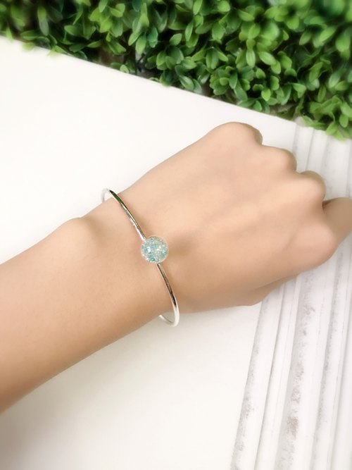 *Haku‧Neko*mint green gel beads 925 sterling silver bracelet / wristband