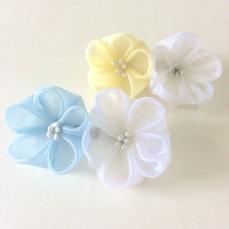 Kanzashi organza flower hair clip hair pin hair accessories(つまみ細工)