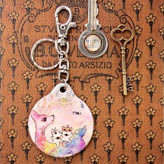 Good Meow vegetable-tanned leather key ring - colorful snowflake deer
