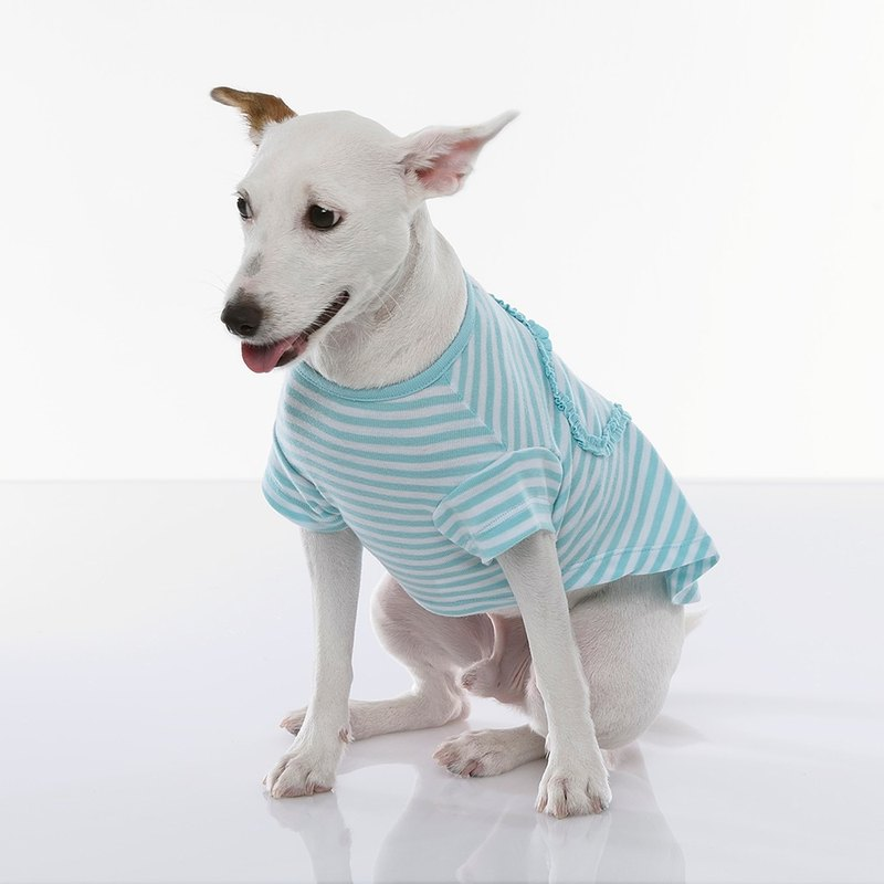 Fabrizio  method Beach Heart shape short sleeve striped pet clothes