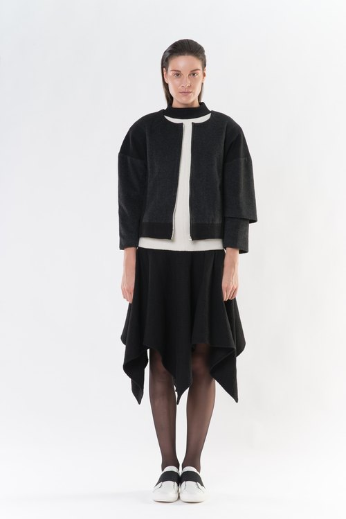 Autumn and winter black stitching asymmetrical jacket AXOXYXOXS