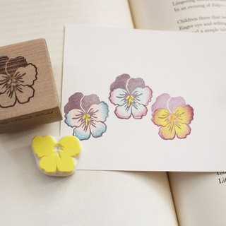 Pansy stamp + multicolor press eraser Hanko